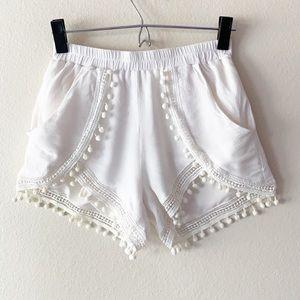 The Jetset Diaries Crochet Pom Pom Shorts